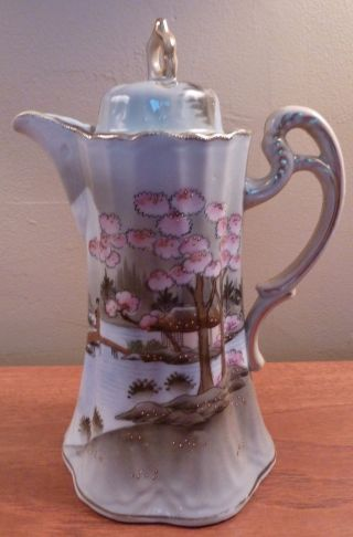 Antique Nippon Gray And Pink Floral Tea,  Coffee Or Chocolate Pot - Sh photo