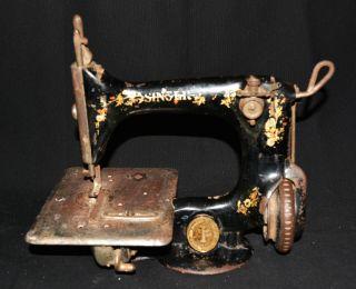 Pp Rare Antique Cast Iron Miniature Sewing Machine Singer Childs Portable Size photo