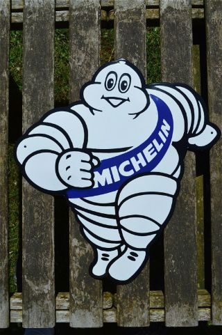 Large Michelin Man Enamel Advertising Wall Sign Plaque Tyre Advertising photo