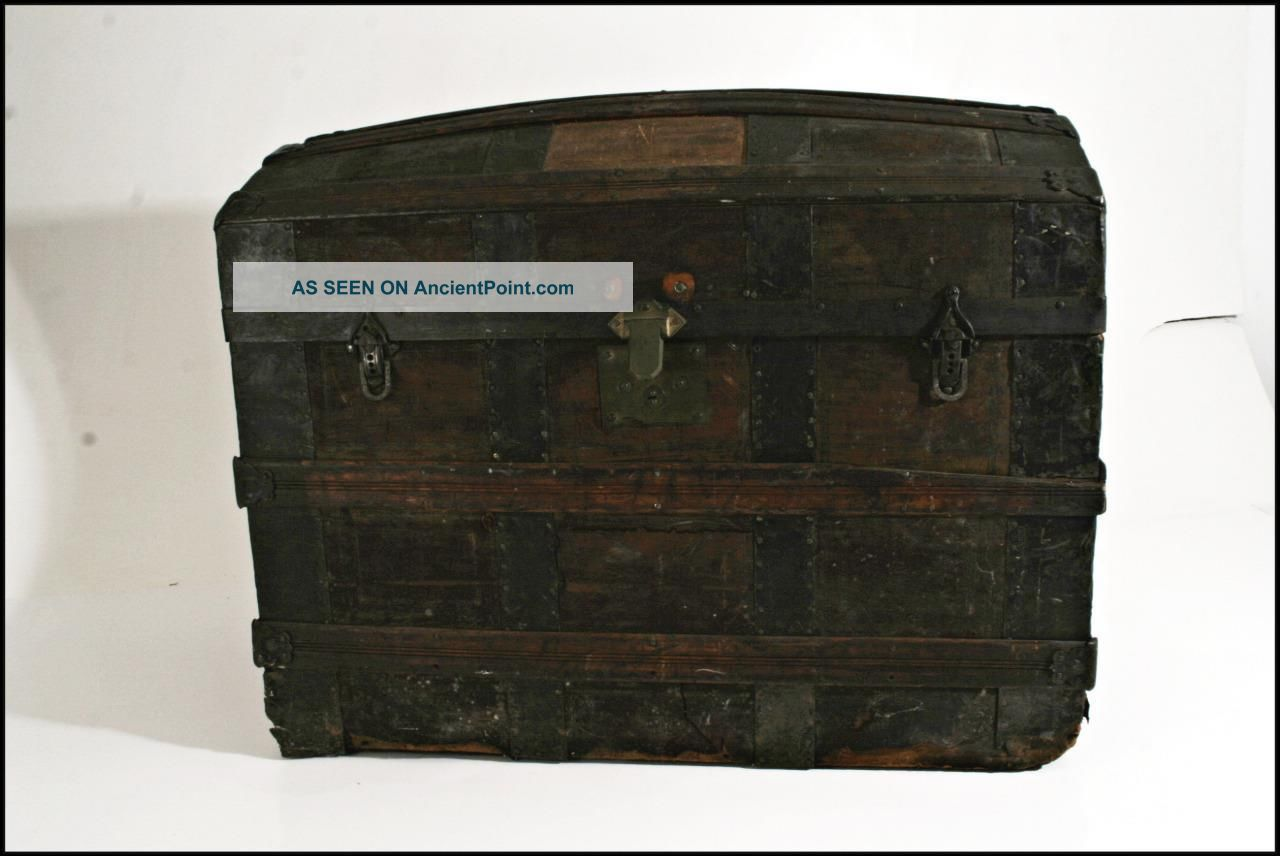 Antique Camelback Trunk Ornate Metal Wood Steamer Storage Chest Vtg Old Dome Top 1800-1899 photo