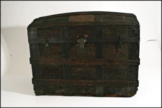Antique Camelback Trunk Ornate Metal Wood Steamer Storage Chest Vtg Old Dome Top photo