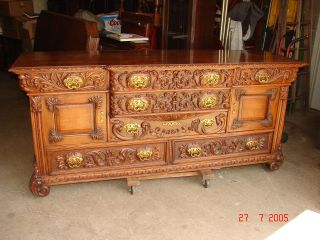 Profusely Carved Great Oak Formal Buffet Sideboard Backbar Lions Faces - 84
