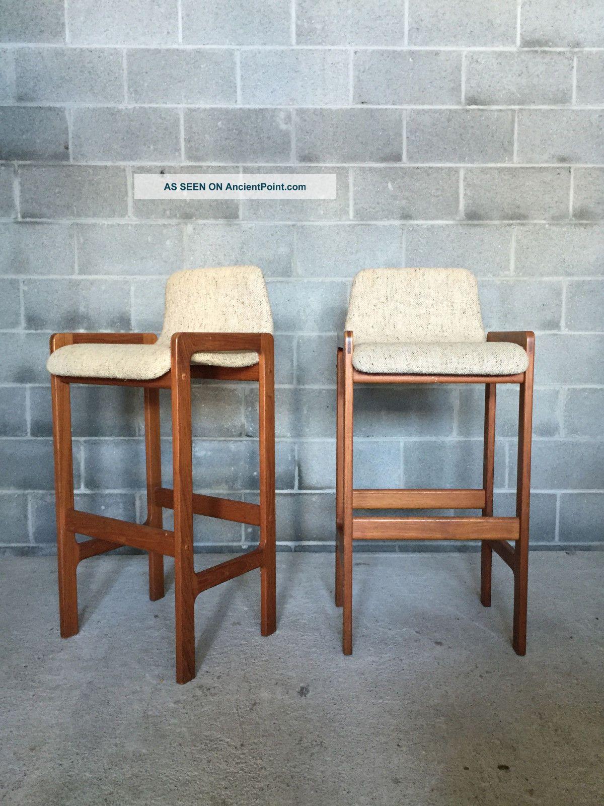 Picture of: Pair Vintage Mid Century Danish Modern Teak Tall Bar Stools Erik Buck Tarm Stole