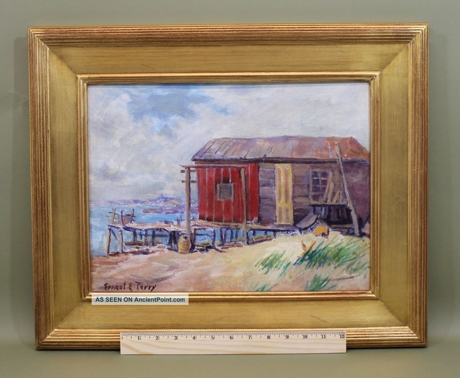 Vintage Ernest E Perry Cape Cod Ma Coastal Fishing Shack Oil Painting Nr Other photo