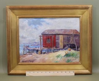 Vintage Ernest E Perry Cape Cod Ma Coastal Fishing Shack Oil Painting Nr photo