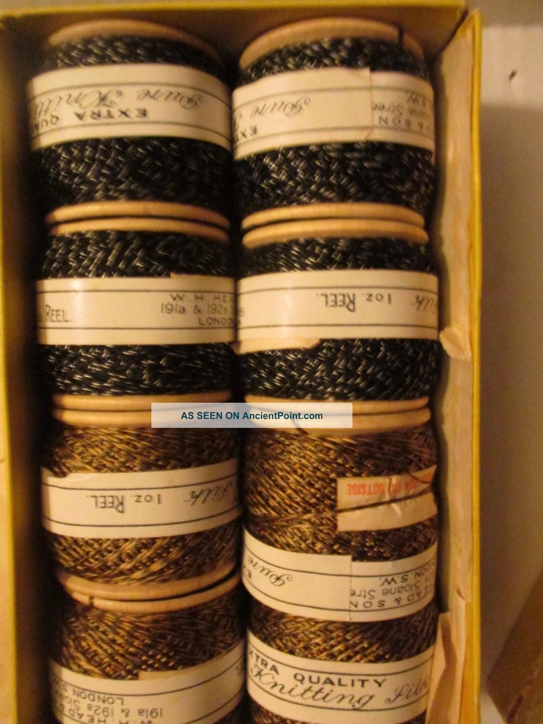 1900s Pure Knitting Silk,  W H Head & Sons London.  8 Wood Reels Other photo