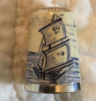 Antique Gabler Greif German 800 Silver Thimble Enamel Delft Sailboat Decor photo