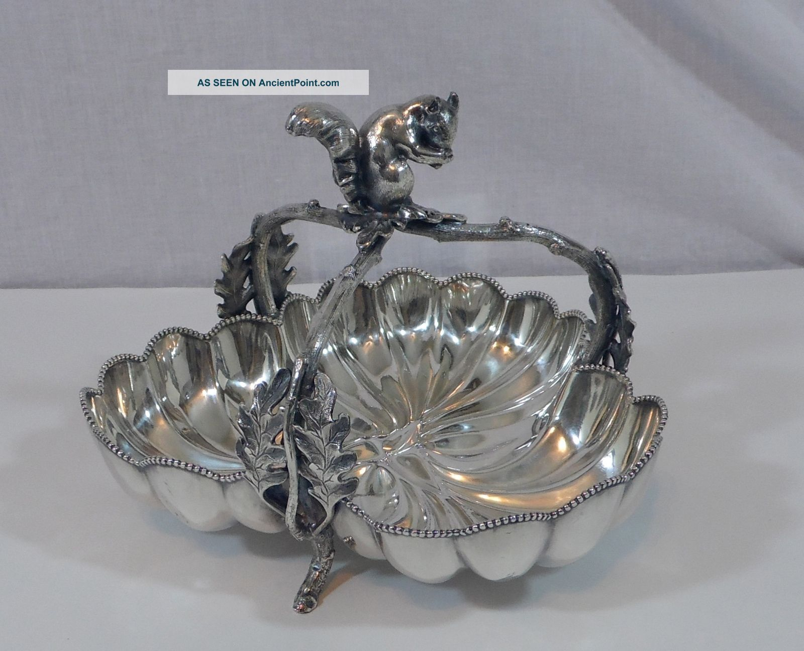 Antique Woodman - Cook Co.  Figural Squirrel Quadruple Silver Plated Nut Basket Baskets photo