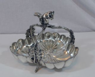 Antique Woodman - Cook Co.  Figural Squirrel Quadruple Silver Plated Nut Basket photo