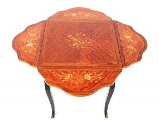 Antique Dutch Inlaid Table Envelope Card Table Drop Leaf Pembroke Table photo