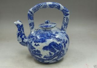 Old Collectible Handwork Jingdezhen Porcelain Painting Landscape Big Tea Pot photo