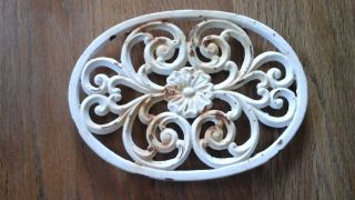 Early Antique Primitive Unique Cast Iron Trivet W/ Legs Shabby White Paint photo