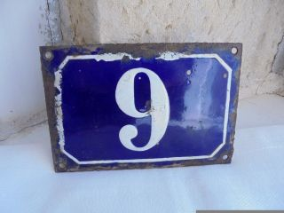 French Blue & White House Gate Number Awesome 9 Or 6 Porcelain Enamel Solid photo