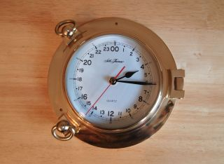 Marine Ship Porthole Seth Thomas Clock,  Solid Brass,  Vintage 1988 photo