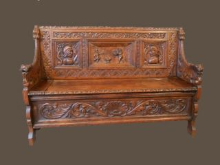 Antique French Bench With Storage,  Renaissance Dragon Carved Arms,  19th Century photo