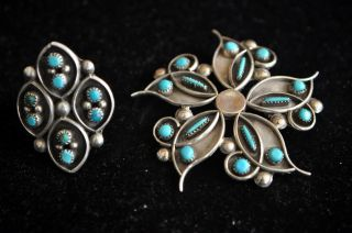 Antique Native American Navajo Sterling Silver & Turquoise Brooch And Ring photo