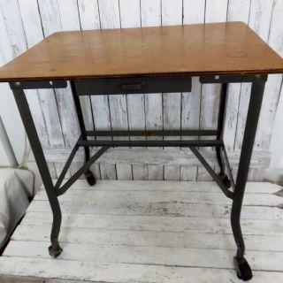 Vintage Toledo Ohio Uhl Steel Wood Industrial Machine Age Desk Typewriter Table photo