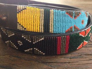 Mens Vintage African Maasai Beaded Belt Hand Crafted Leather 42 - 46
