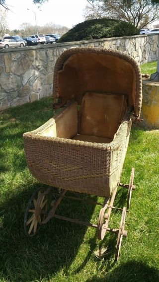 Antique Vg Heywood Wakefield Rattan Wicker Baby Pram Carriage Buggy photo