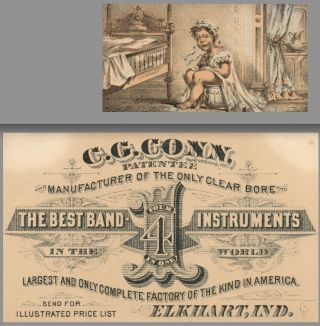 1880 C.  G.  Conn Band Instruments 4 - In - One Cornet Victorian Advertising Trade Card photo