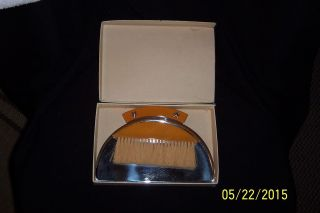 1930 ' S Art Deco Chase Butterscotch Bakelite & Chrome Crumb Catcher W/brush & Box photo