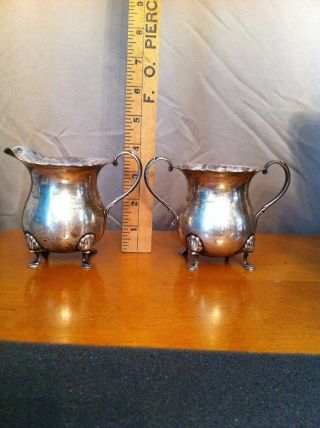 Colonial Revival Style Sterling Silver,  Creamer & Sugar,  R 11 Mark photo