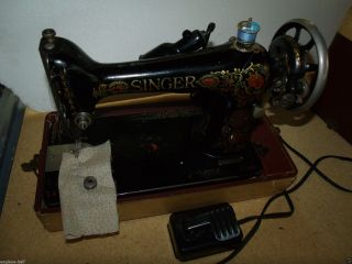 Antique Singer 1918 Portable Sewing Machine Model 66 In Case Single Letter G photo