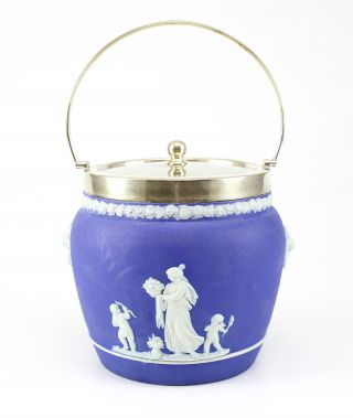 Wedgwood Jasperware Royal Blue Biscuit Jar Barrel W/ Silverplate Lid; C.  1920 ' S photo