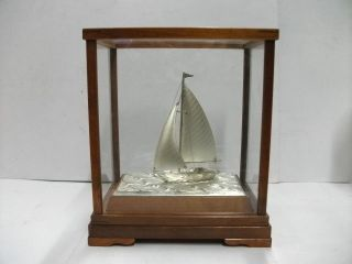 The Silver950 Sailboat Of The Most Wonderful Japan.  Japanese Antique. photo