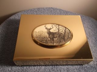 Vintage Brass Color Metal Deer / Buck Scrimshaw Top Card Deck Holder Storage Box photo