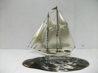 The Sailboat Of Sterling Silver.  130g/ 4.  59oz.  2 Masts.  Japanese Antique. photo