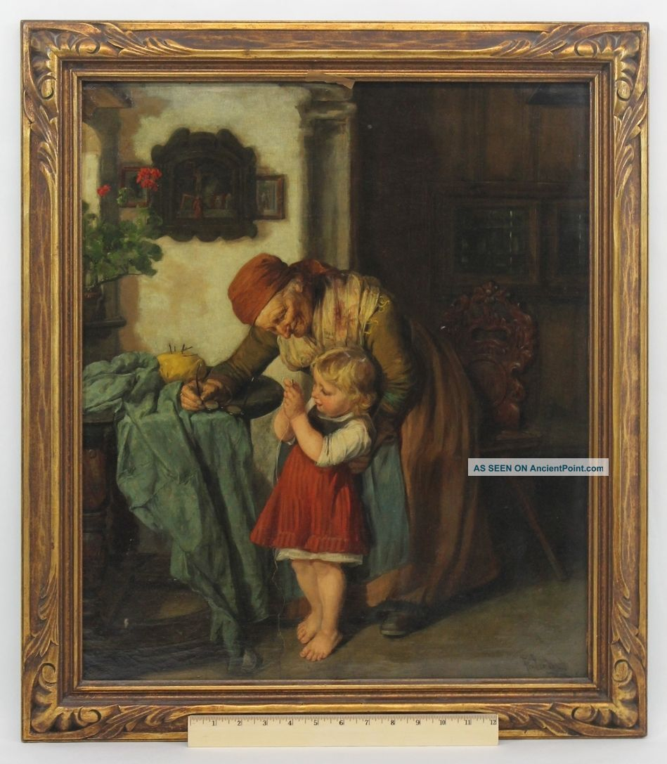 Antique Friedrich Pondel German Genre Oil Painting Grandmother & Child Sewing Nr Other Antique Sewing photo