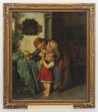 Antique Friedrich Pondel German Genre Oil Painting Grandmother & Child Sewing Nr photo