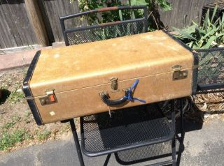 Antique Winship Luggage Boston Mass Canvas & Leather Suitcase Trunk With Old Key photo
