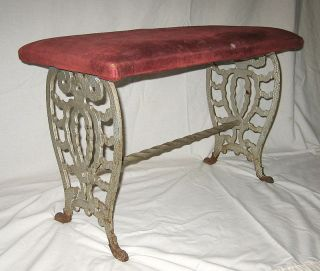 Art Specialty Co.  Cast Iron Legs Footstool Victorian Edwardian Art Deco Nouveau photo