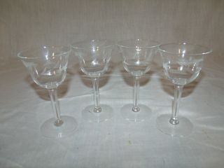 (4) Vintage Clear Etched Handcrafted Crystal 5in.  Wine Glass Goblets/cordials photo