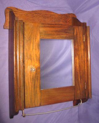 Antique Vtg Walnut Wood Medicine Cabinet County Mirror Cupboard Metal Towel Bar photo