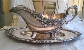 Wallace Silverplate Baroque Gravy Boat W/ Underplate Older Production photo