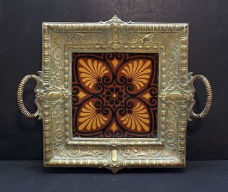 Antique 19th C Minton Hollins Aesthetic Art Craft Tile Pottery Brass Trivet Tray photo