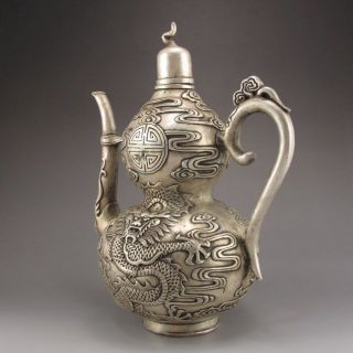 Old Antique Chinese Handmade Tibet Silver Bronze Teapot W Dragon photo