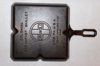 Vintage 1940 ' S Griswold 9 Inch Colonial Breakfast Skillet P/n 666 B Cast Iron photo