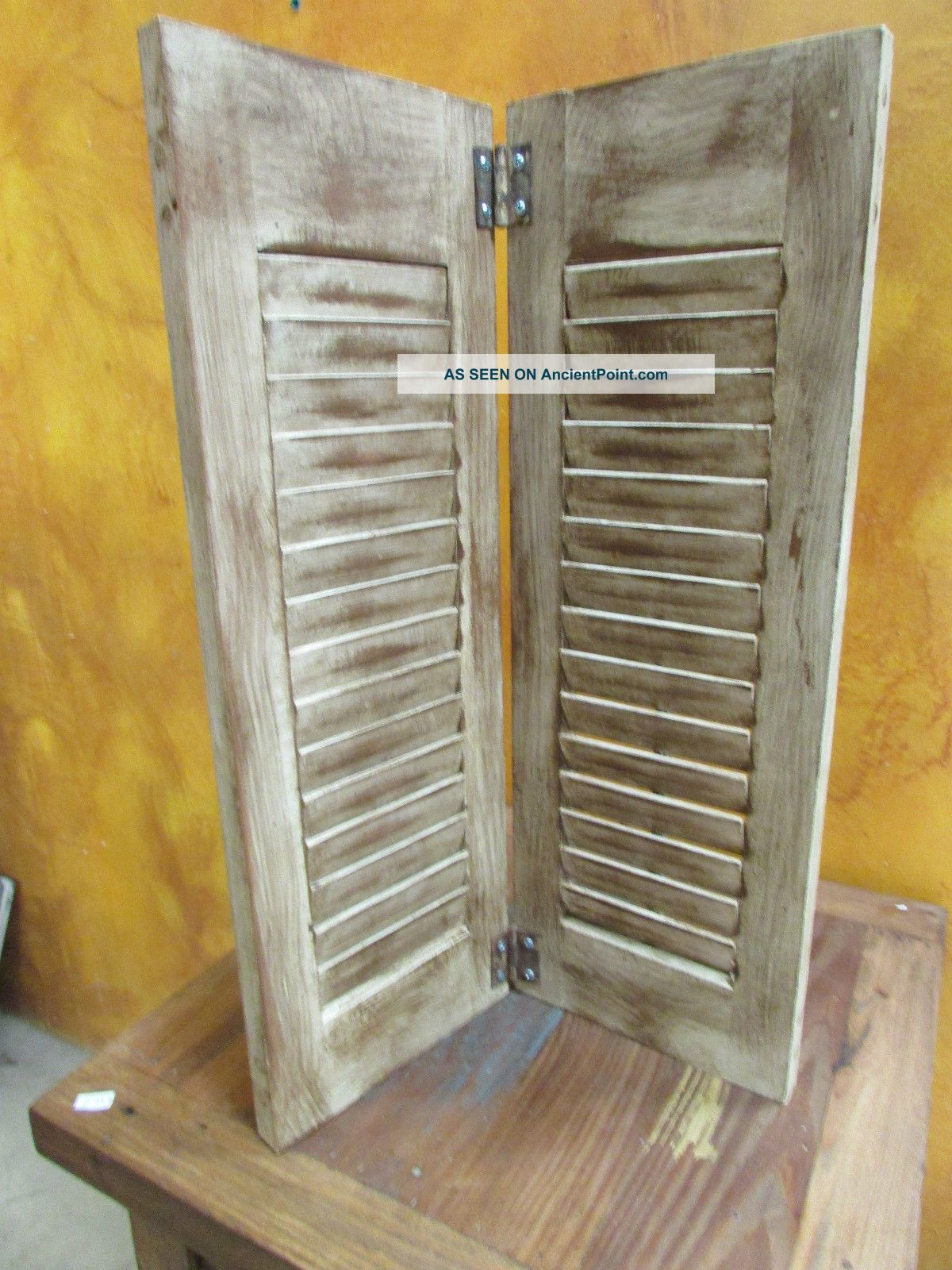 Rustic Wooden Shutters 3 Hinged Display Piece