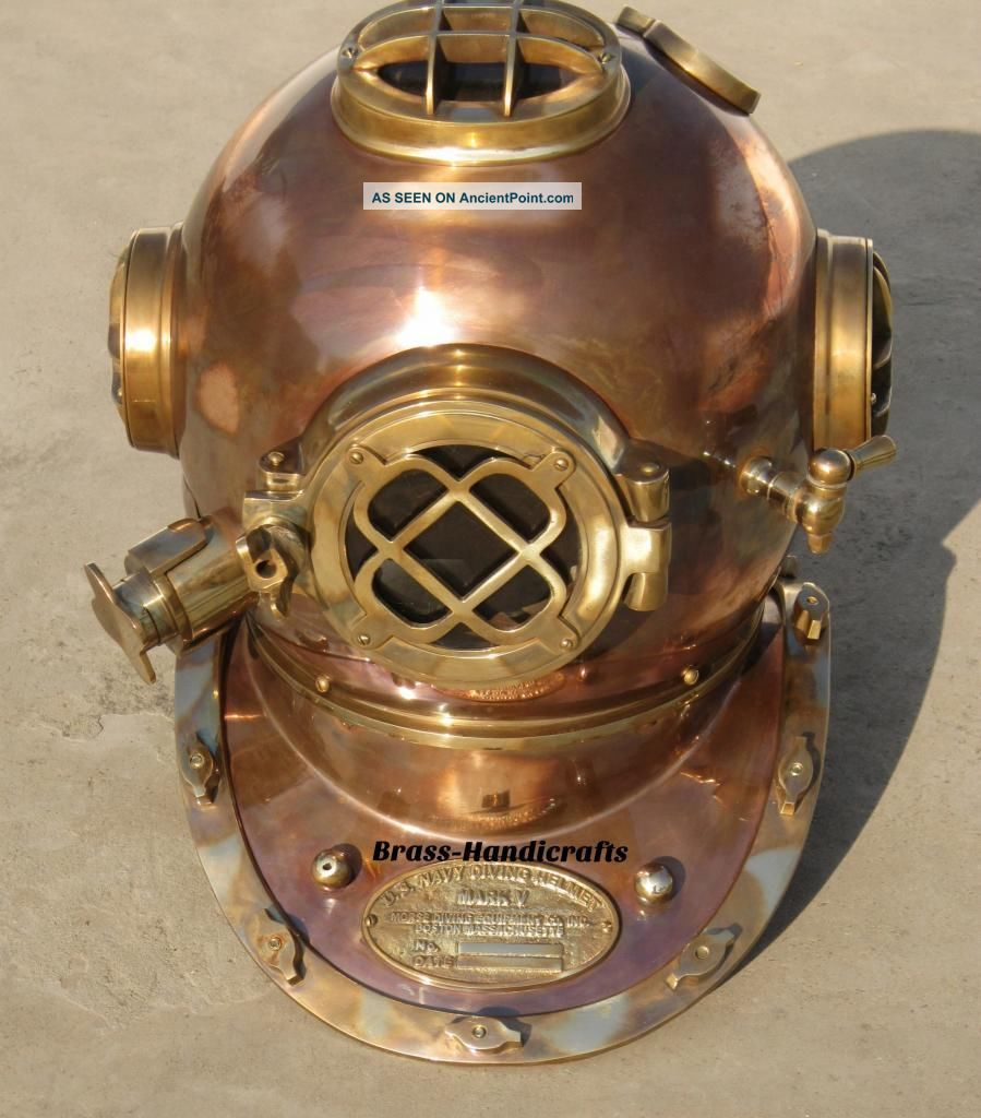 Au Collectible Full Copper & Brass Diving Helmet Divers Helmet Us Navy Mark V Ship Equipment photo