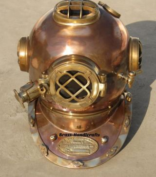 Au Collectible Full Copper & Brass Diving Helmet Divers Helmet Us Navy Mark V photo