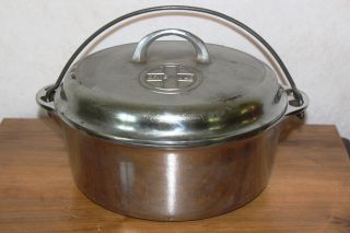 Vintage 1940 ' S Griswold 8 Cast Iron Dutch Oven 1278 W/ Button Logo Duo Chrome photo