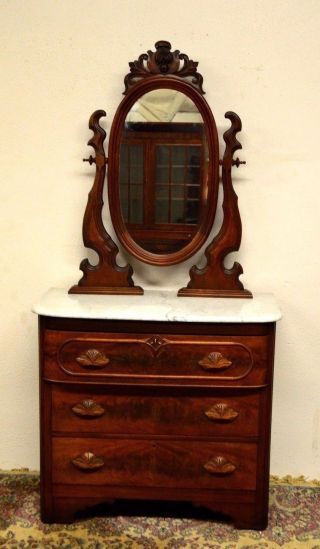 1800 ' S Antique Victorian Renaissance Walnut Dresser Dressing Table Vanity photo