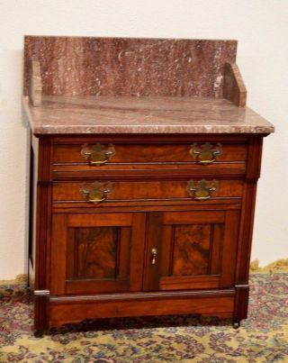 Antique Victorian Eastlake Walnut Washstand Commode Vanity Marble Top photo