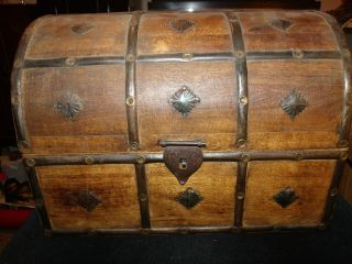 Old Antique Or Vintage Pirate Style Treasure Chest,  Age Unknown,  20th Century photo