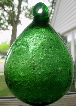 Crude Full Of Bubbles Early 1800 ' S Blown Glass Buoy Fishing Net Float photo