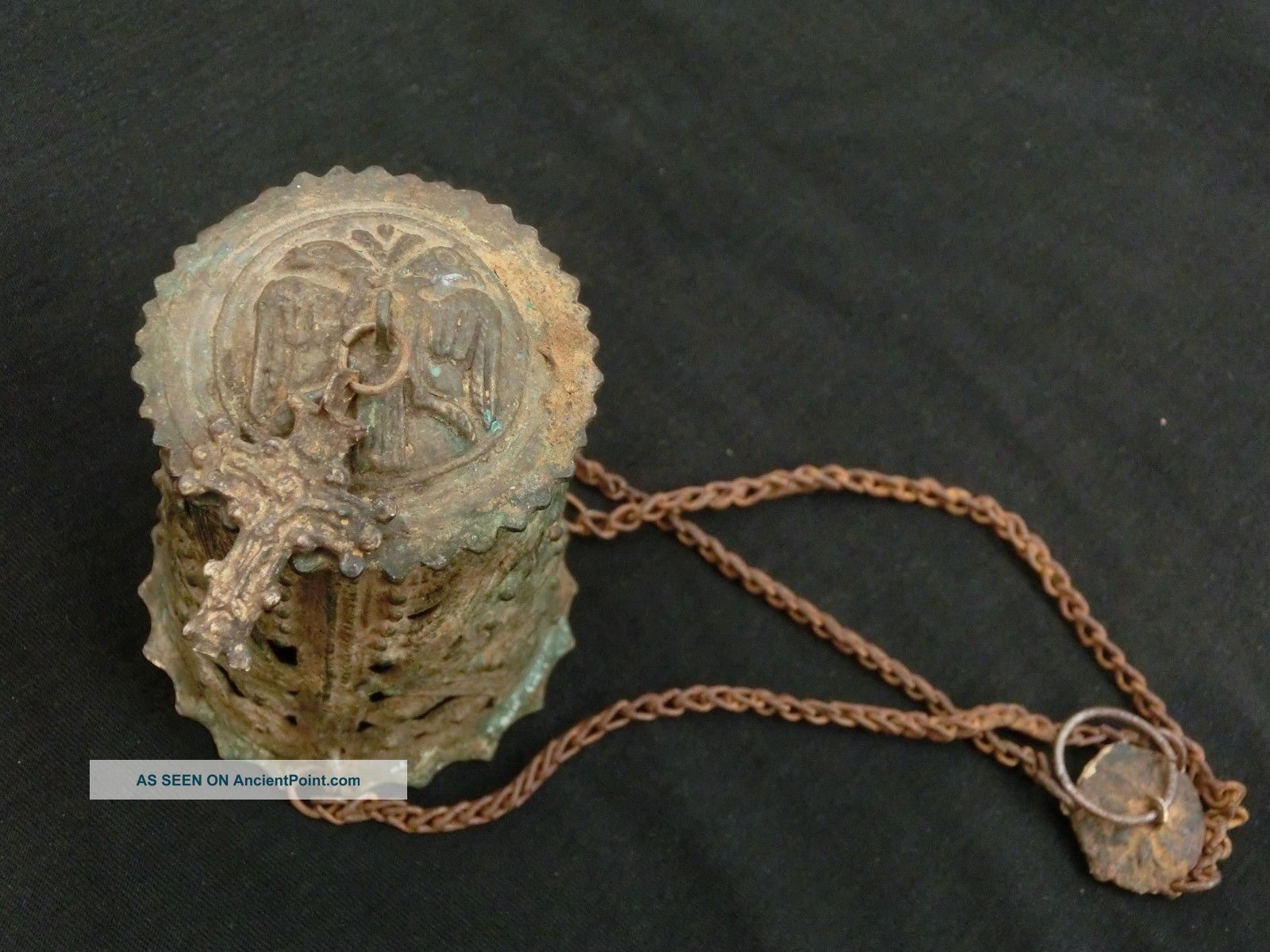 Antique Byzantine Medieval Triple Chained Orthodox Censer Lampada - Rare Byzantine photo